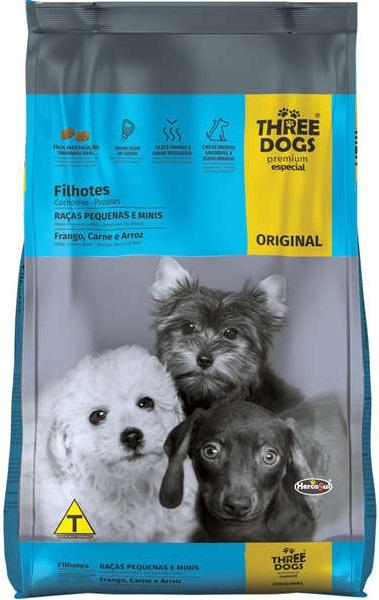 THREE DOGS ORIGINAL FILHOTES PEQ E MINI 3KG