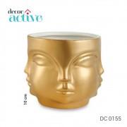 Cachepot em cerâmica rosto dourado 10 cm