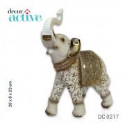 Elefante indiano branco em resina 23cm