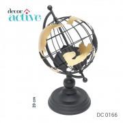 Globo terrestre Decor em metal preto_dourado 20cm