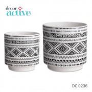 Kit Cachepot Branco em ceramica 2pcs