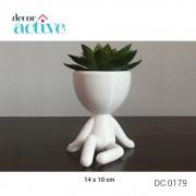 Vaso decor Robert plant 14cm poliresina branco fosco sentado
