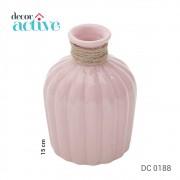 Vaso em cerâmica c/ vidro Celo rosa 15cm