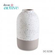 Vaso tipo Granilite branco & cinza ceramica 20,5cm