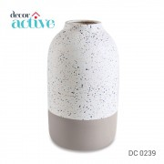 Vaso tipo Granilite branco&cinza ceramica 28cm