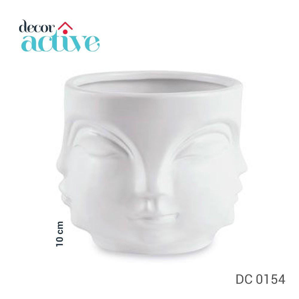 Cachepot em cerâmica rosto branco 10 cm