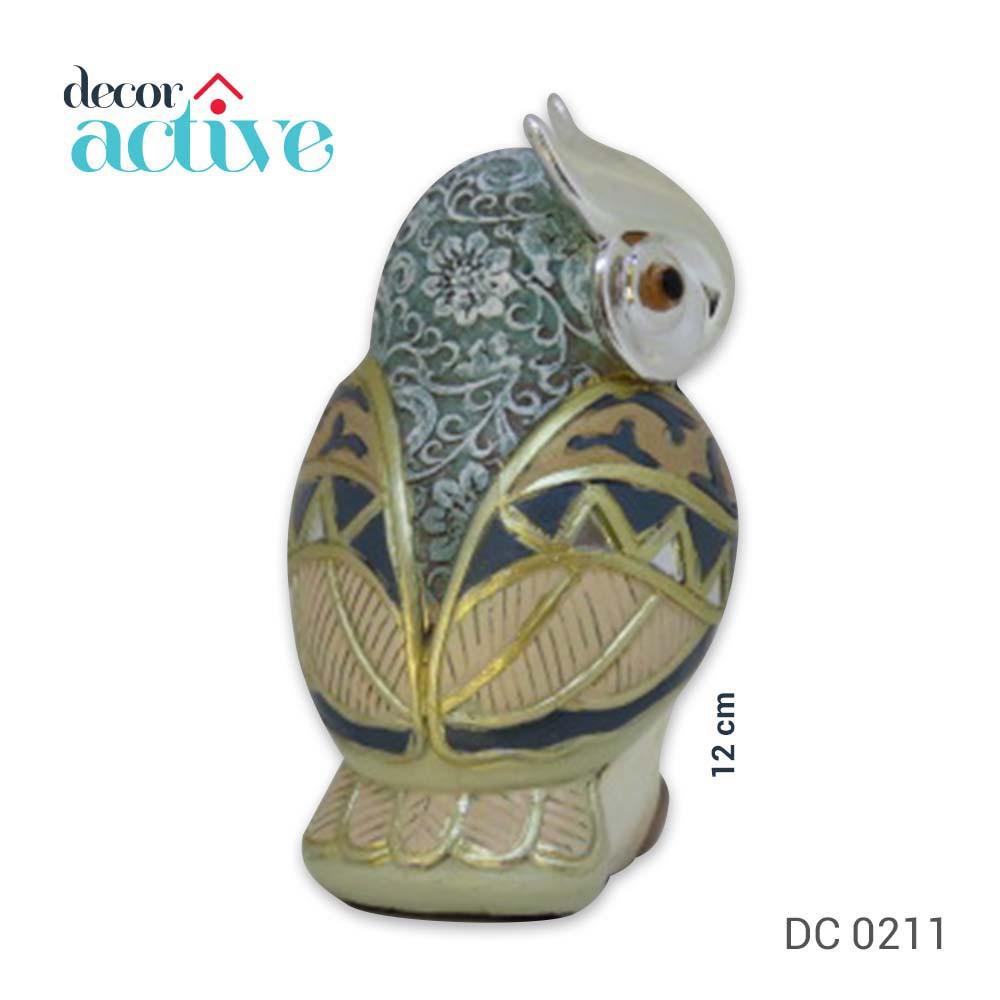 Coruja decorativa resina 12cm