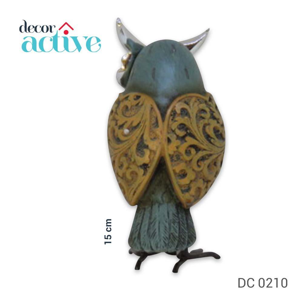 Coruja decorativa resina 15cm marrom