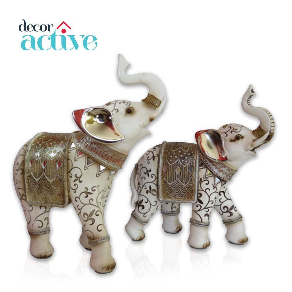 Elefante indiano branco em resina 27cm