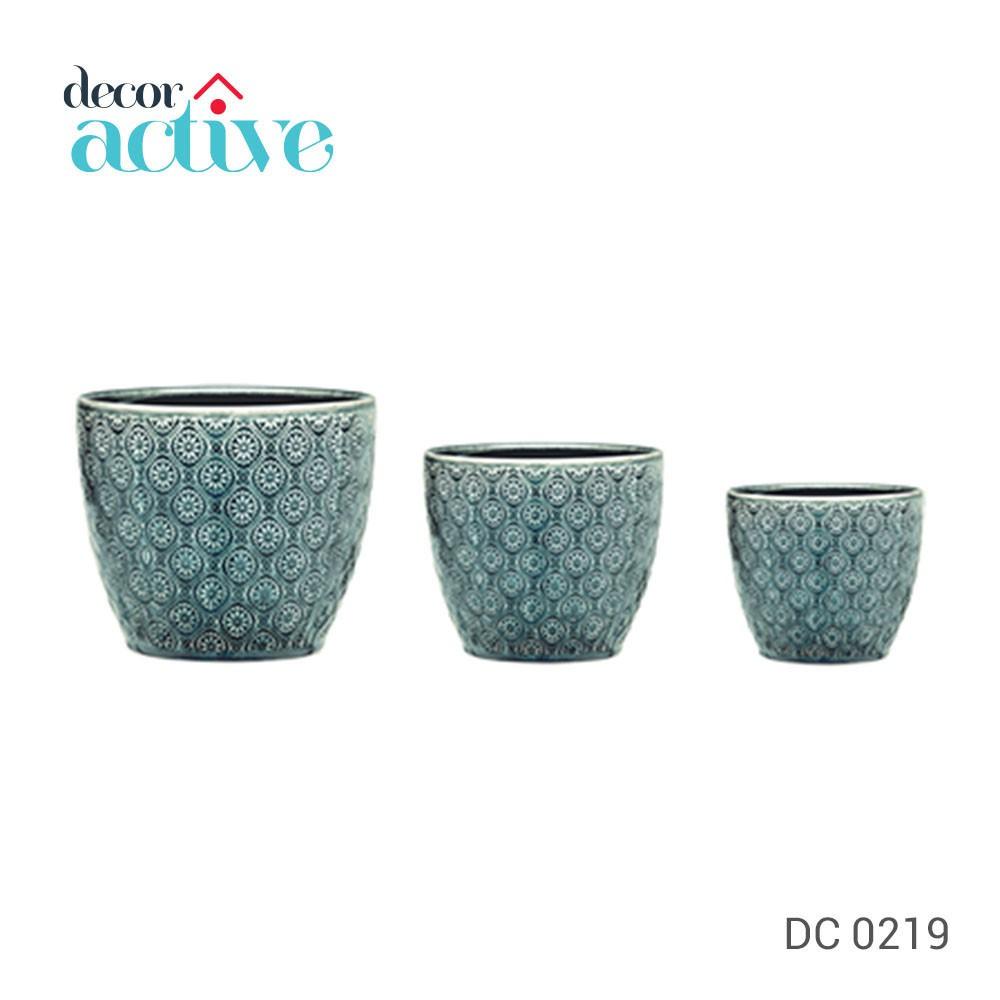 Kit Cachepot Azul em ceramica 3pcs