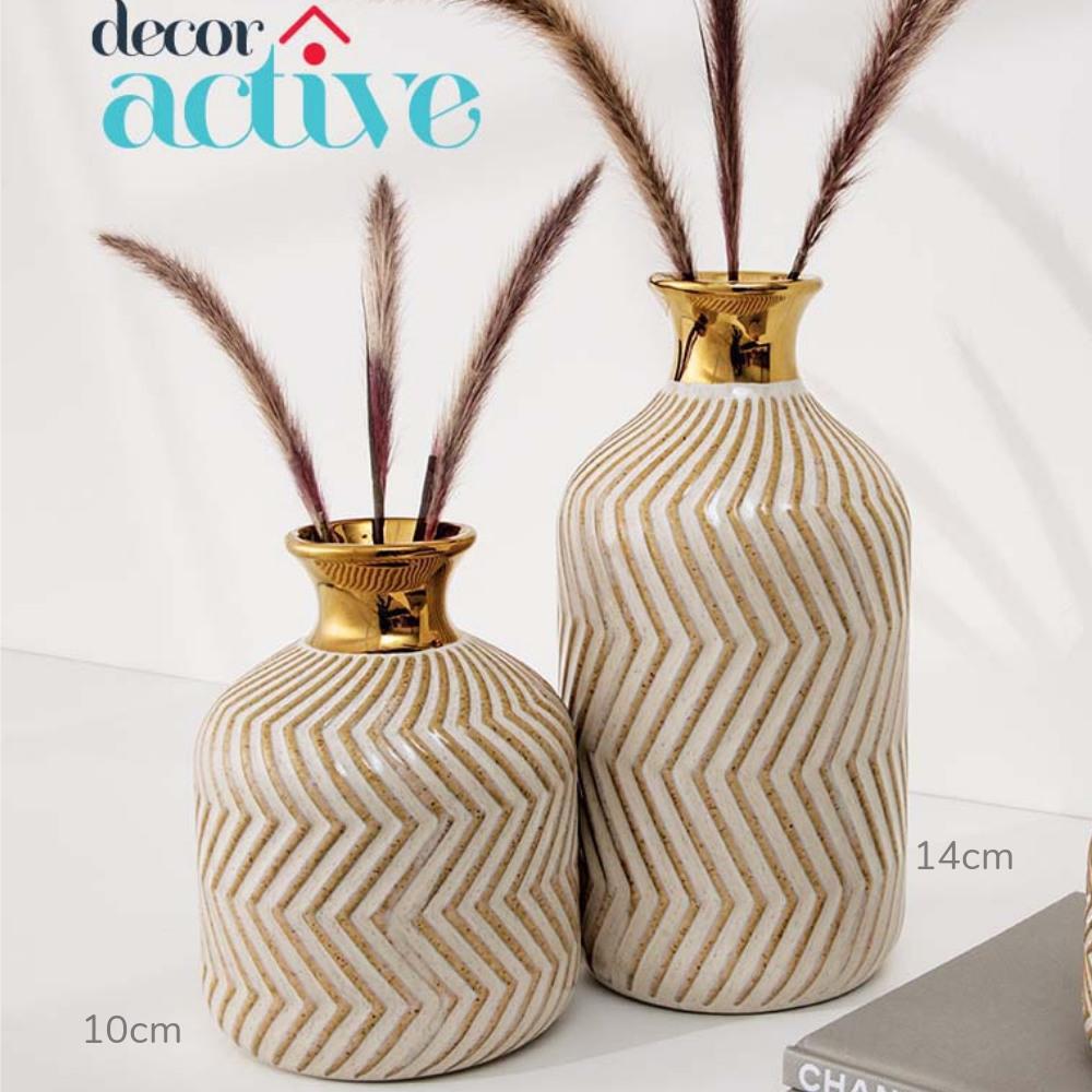 KIT Vasos em cerâmica nude & dourado  14cm 10cm