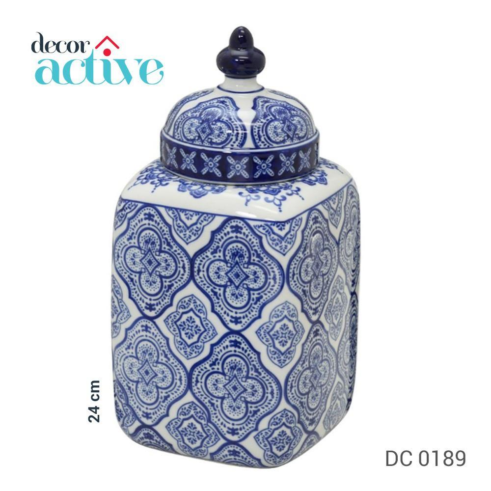 Potiche de porcelana branco e azul com tampa 24 cm