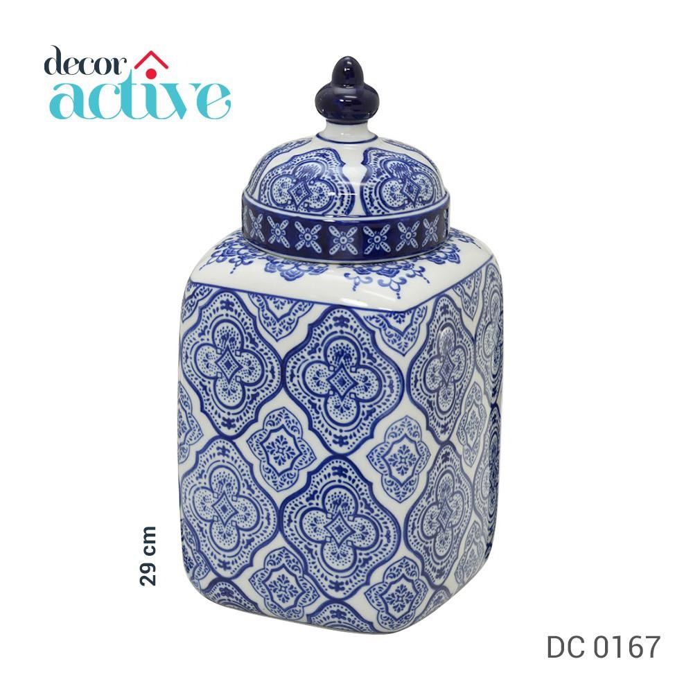 Potiche + tampa branco e azul porcelana 29cm
