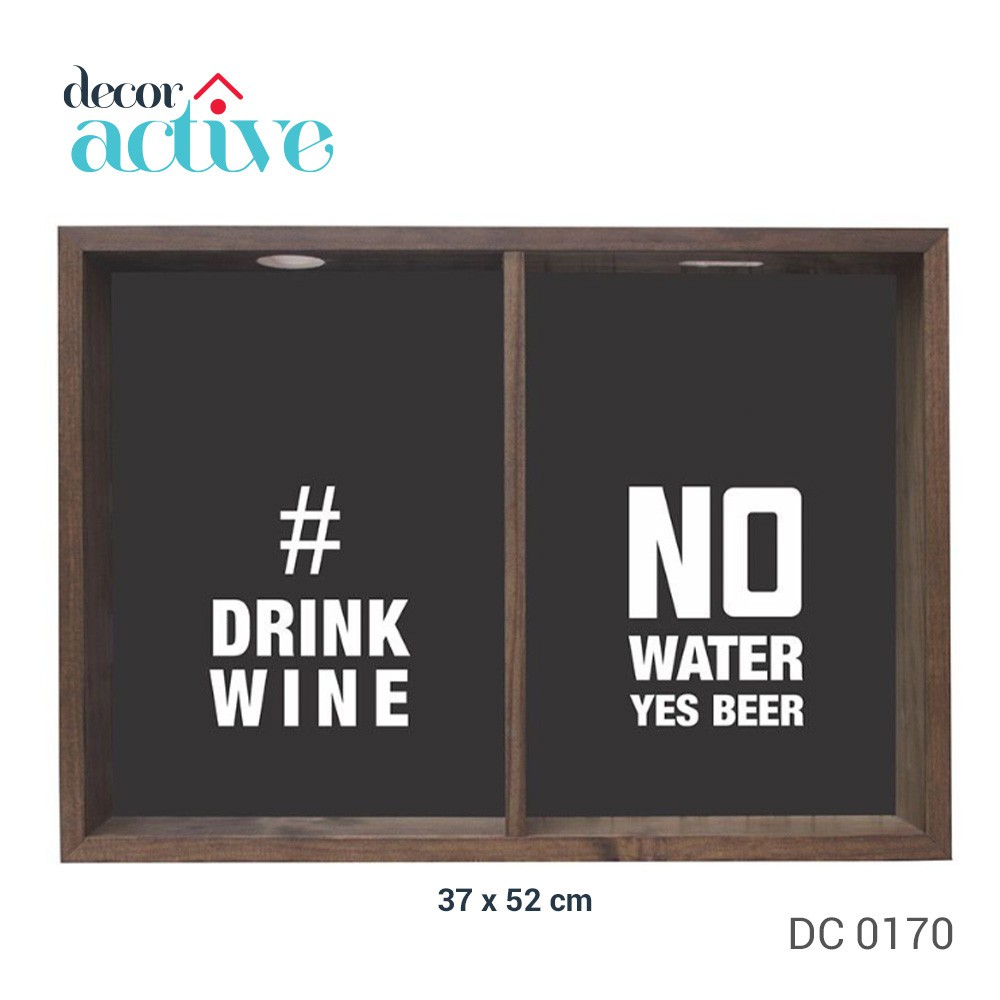 Quadro duplo drink wine_no water 37x52cm