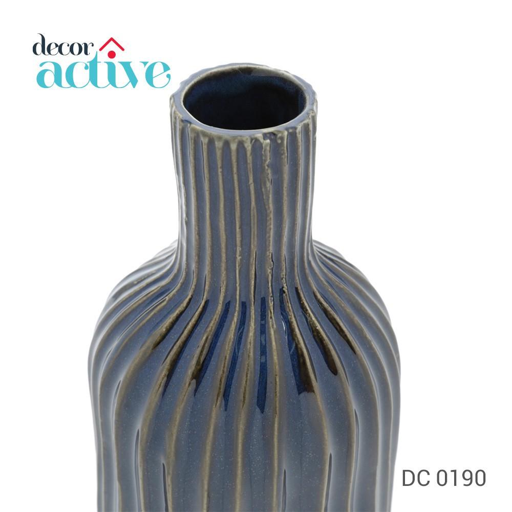 Vaso azul decor em cerâmica 36cm