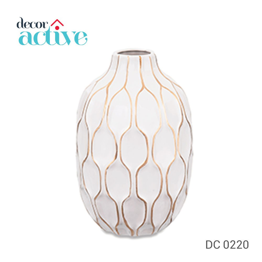Vaso branco & dourado em cerâmica 28cm