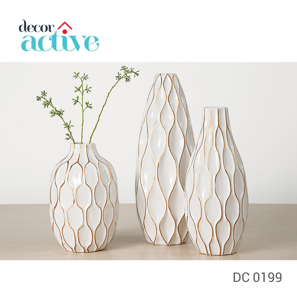 Vaso branco & dourado em cerâmica 38cm