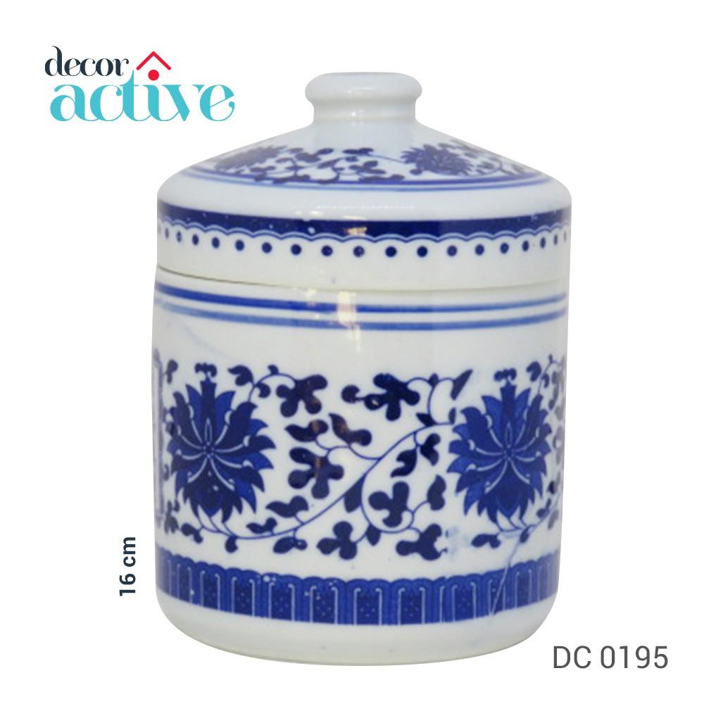 Vaso de porcelana branco e azul com tampa 16 cm