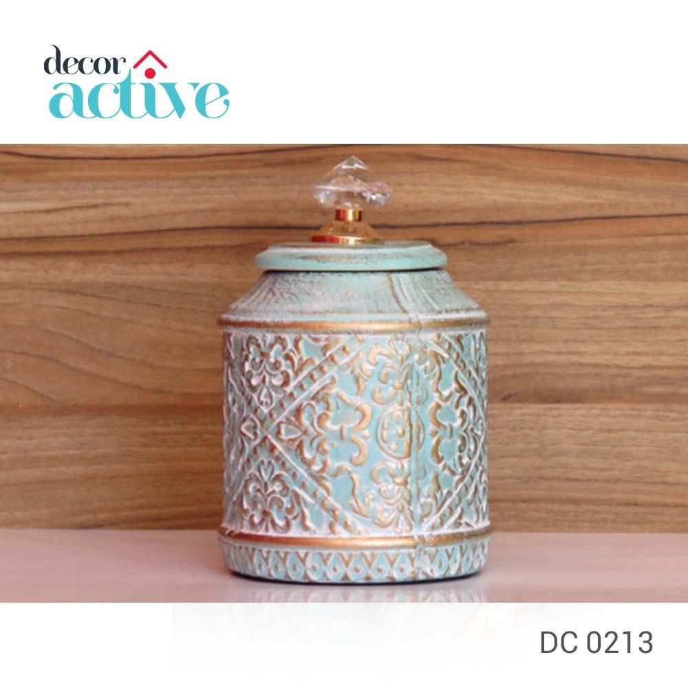 Vaso decor azul com tampa cristal cerâmica 13x22cm