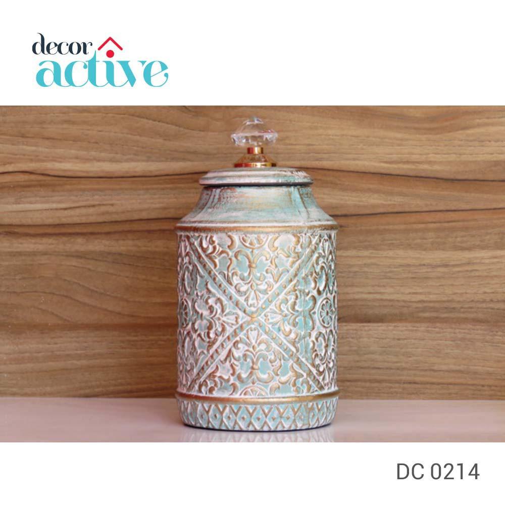 Vaso decor azul com tampa cristal cerâmica 14x28cm