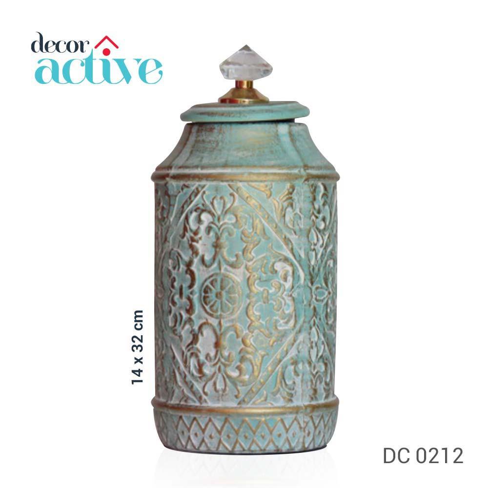 Vaso decor azul com tampa cristal cerâmica 14x32cm