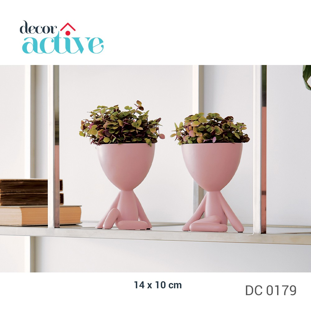 Vaso decor Robert plant 14cm poliresina rosa fosco sentado