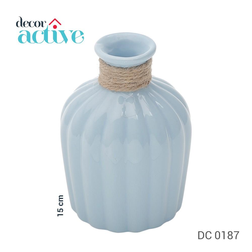 Vaso em cerâmica c/ vidro Celo azul 15cm