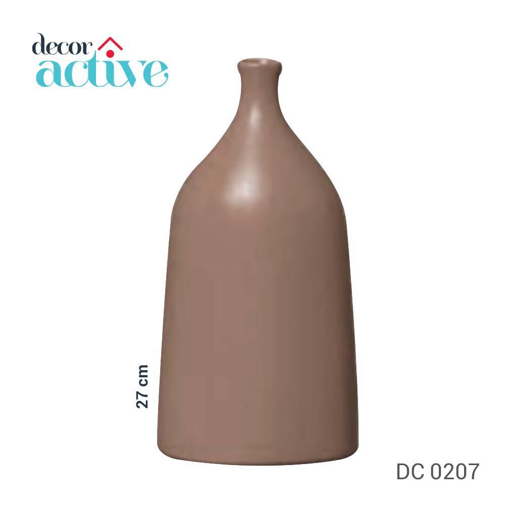 Vaso garrafa oval em cerâmica cinza fosco 27 cm