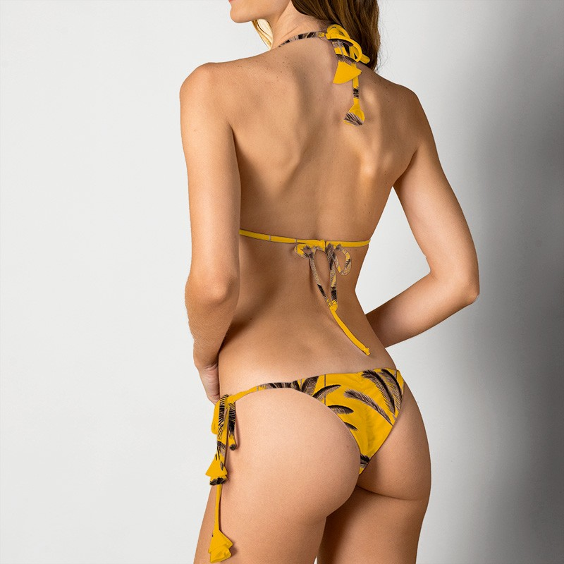 Sutiã Hortência e Calcinha Joana Palm Amarelo