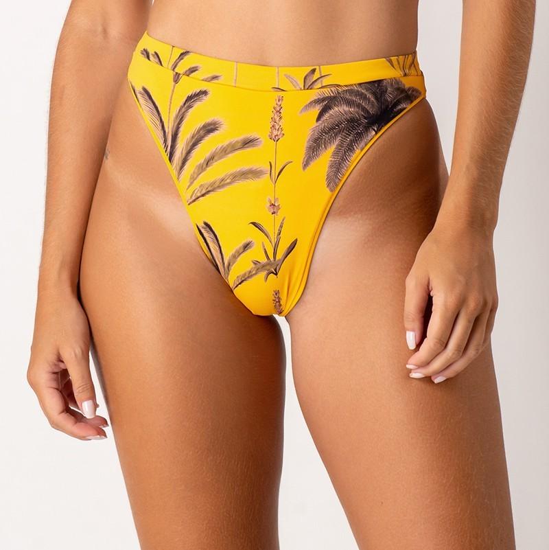 Sutiã Neli e Calcinha Brigitte Palm Amarelo
