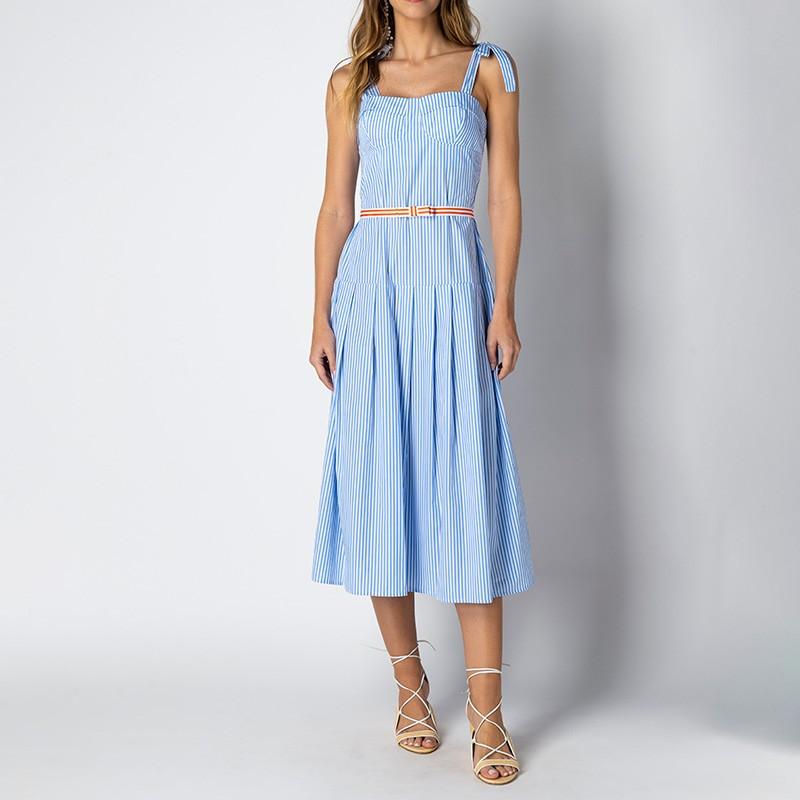Vestido Bruna Listrado Azul