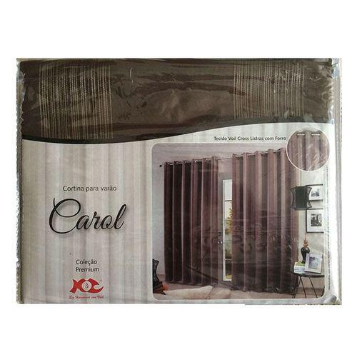 Cortina Carol com forro voil listrado 2,60m X 5,60m