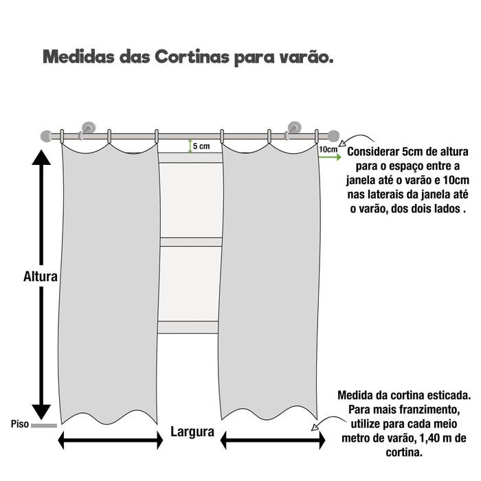 Cortina Carol com forro voil listrado 2,60m X 4,00m