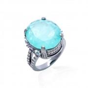 Anel Fusion Turmalina Cristal Ametista Cristal Topázio Azul Oval Cravejado