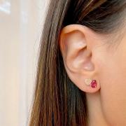 Brinco Coração e Gota Cristal Turmalina Rosa Banho de Ouro 18K