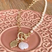 Colar Pérola Corações Nossa Senhora Aparecida Banho de Ouro 18K - 40 cm