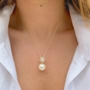 Colar Pingente Pérola Estrela Zircônia Branca Banho de Ouro 18K - 50 cm