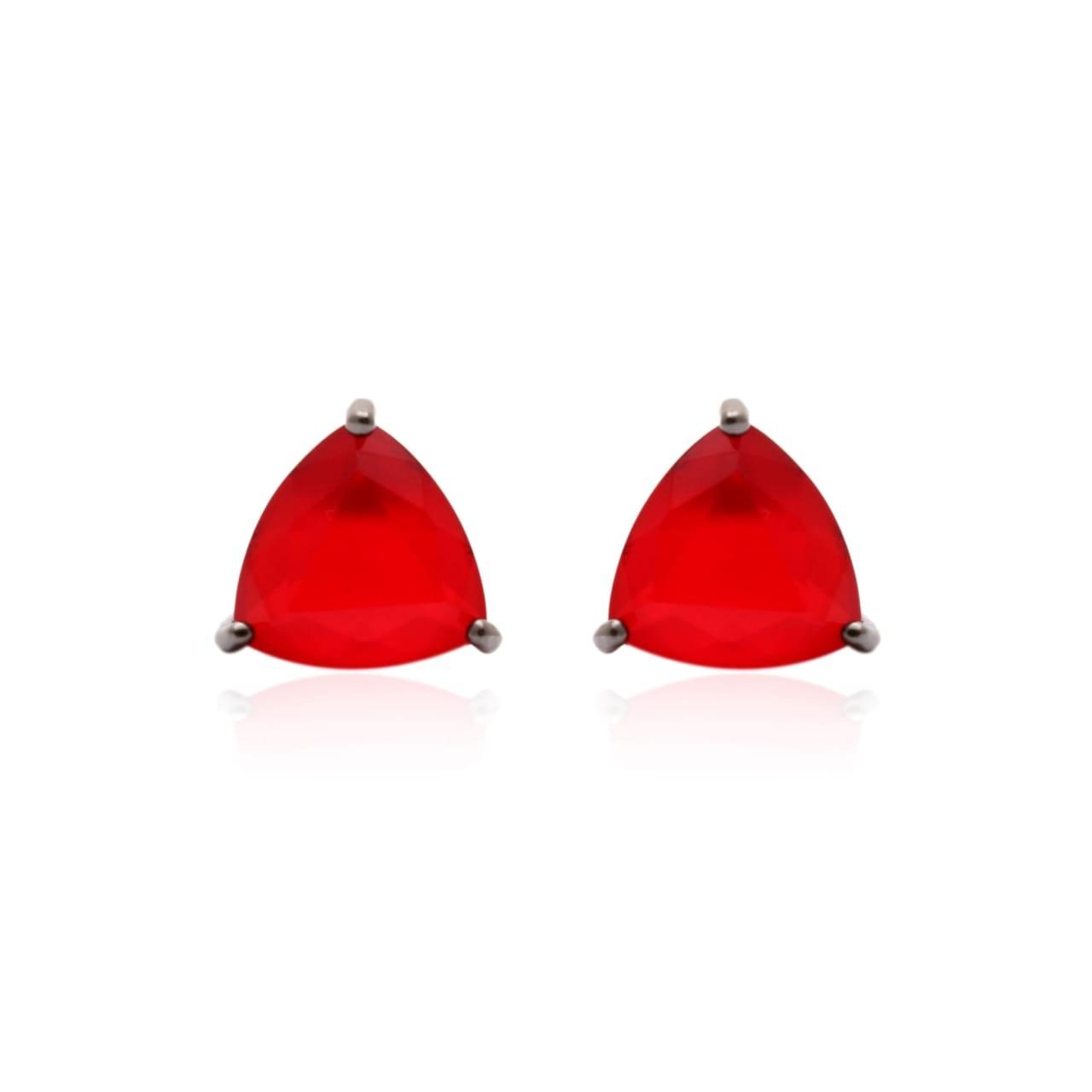 Brinco Cristal Rubi Triangulo Semijoia