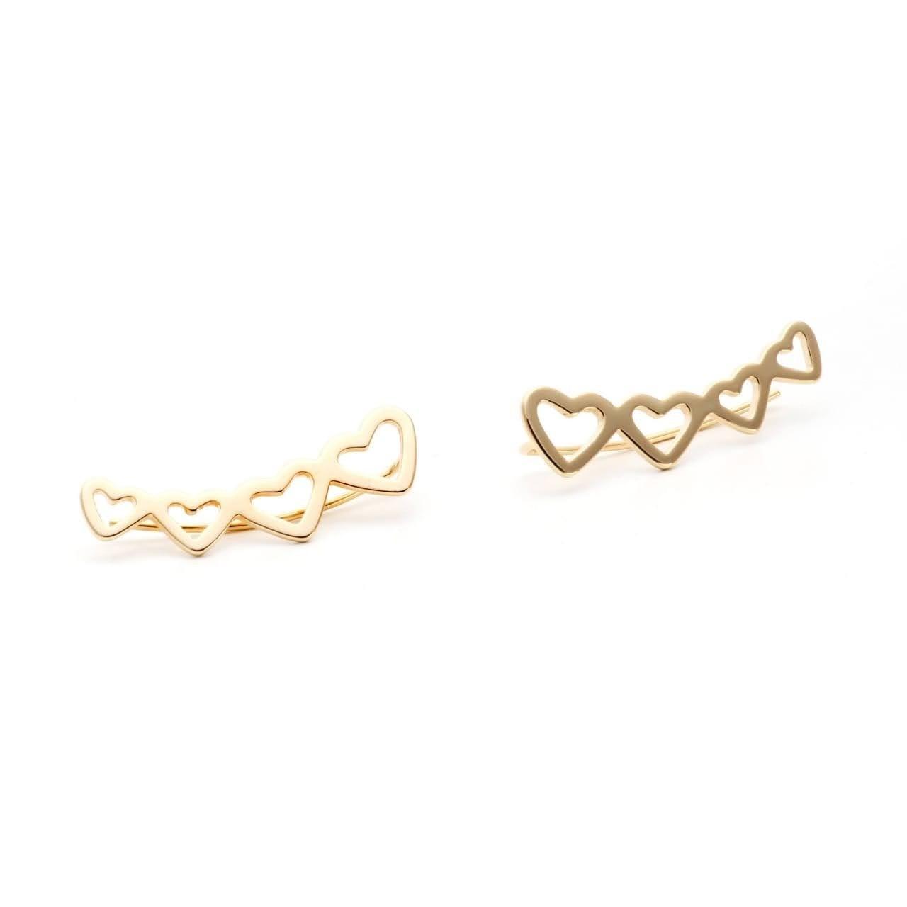 Brinco Ear Cuff Liso Corações Banho de Ouro 18K