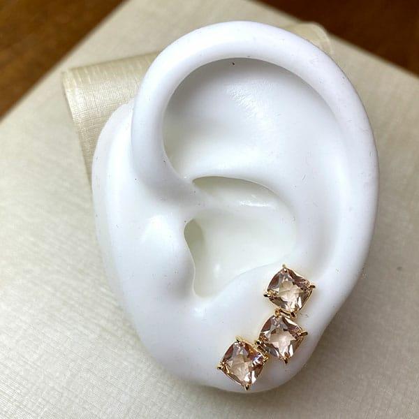 Brinco Ear Cuff Quadrados Morganita Ródio Branco