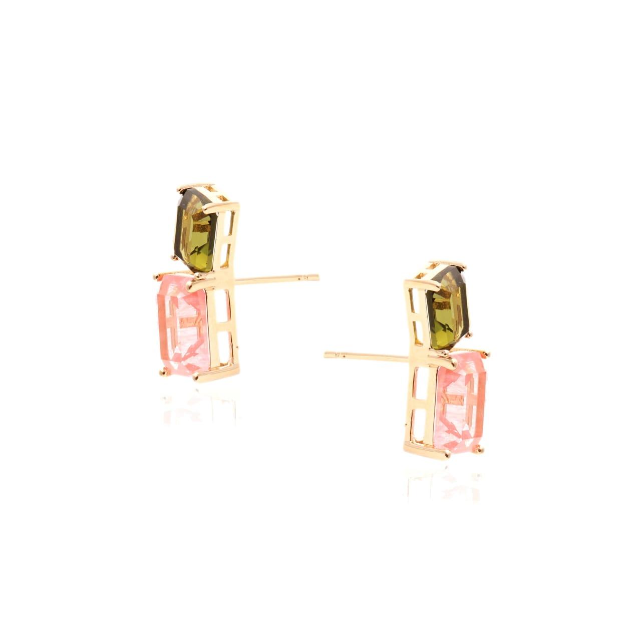 Brinco Fusion Morganita e Cristal Peridoto Ear Cuff com Fecho de Pérola
