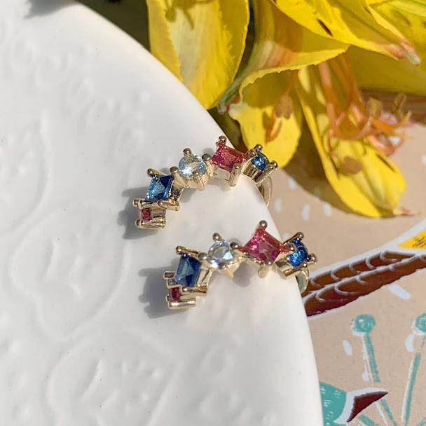 Brinco Piercing Balão Gota Cristal Turmalina Rosa e Safira Ouro (Unidade)