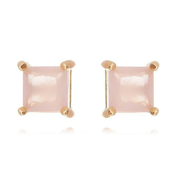 Brinco Quadrado Rosa Claro Ouro 0,6 cm