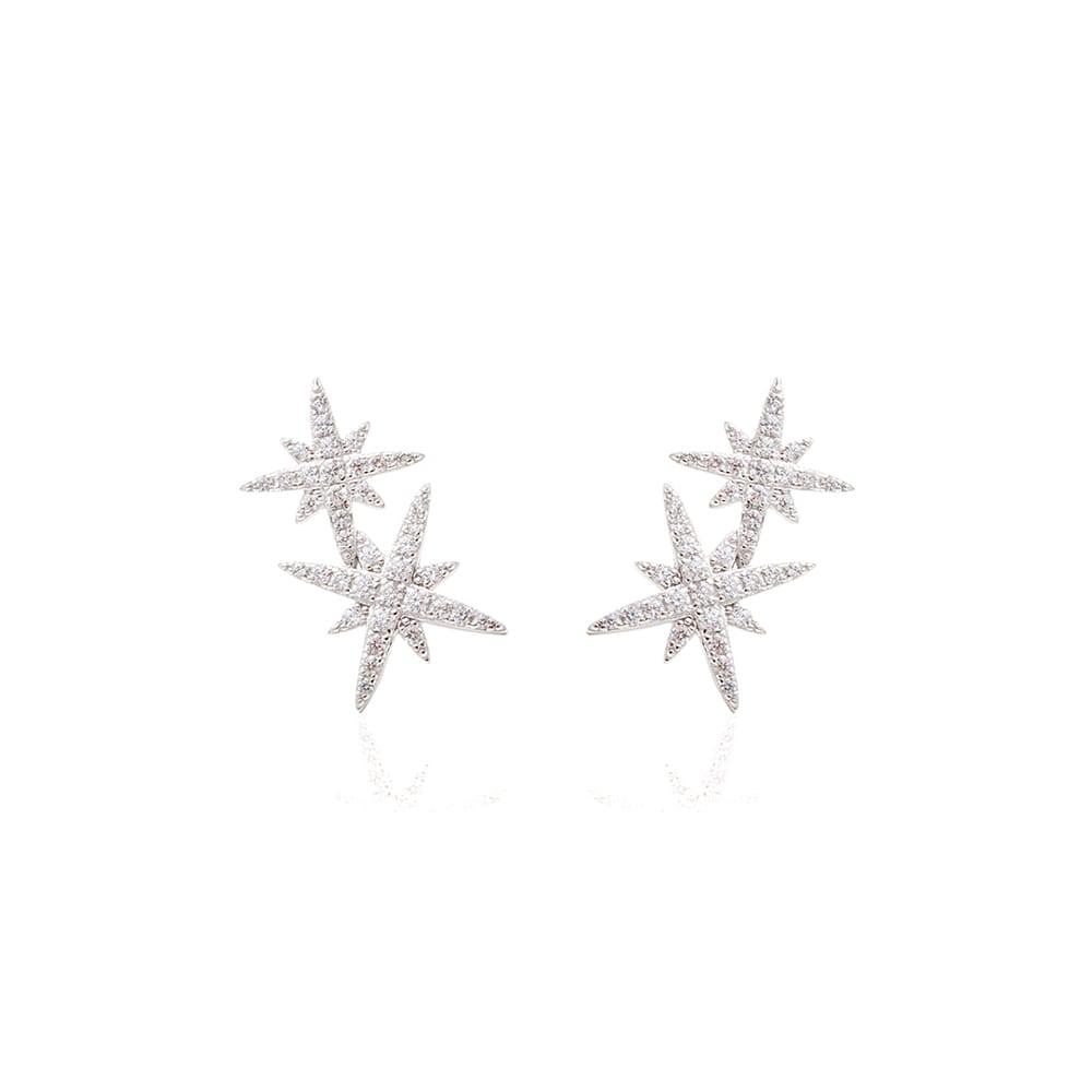 Brinco Zircônia Branca 2 Estrelas
