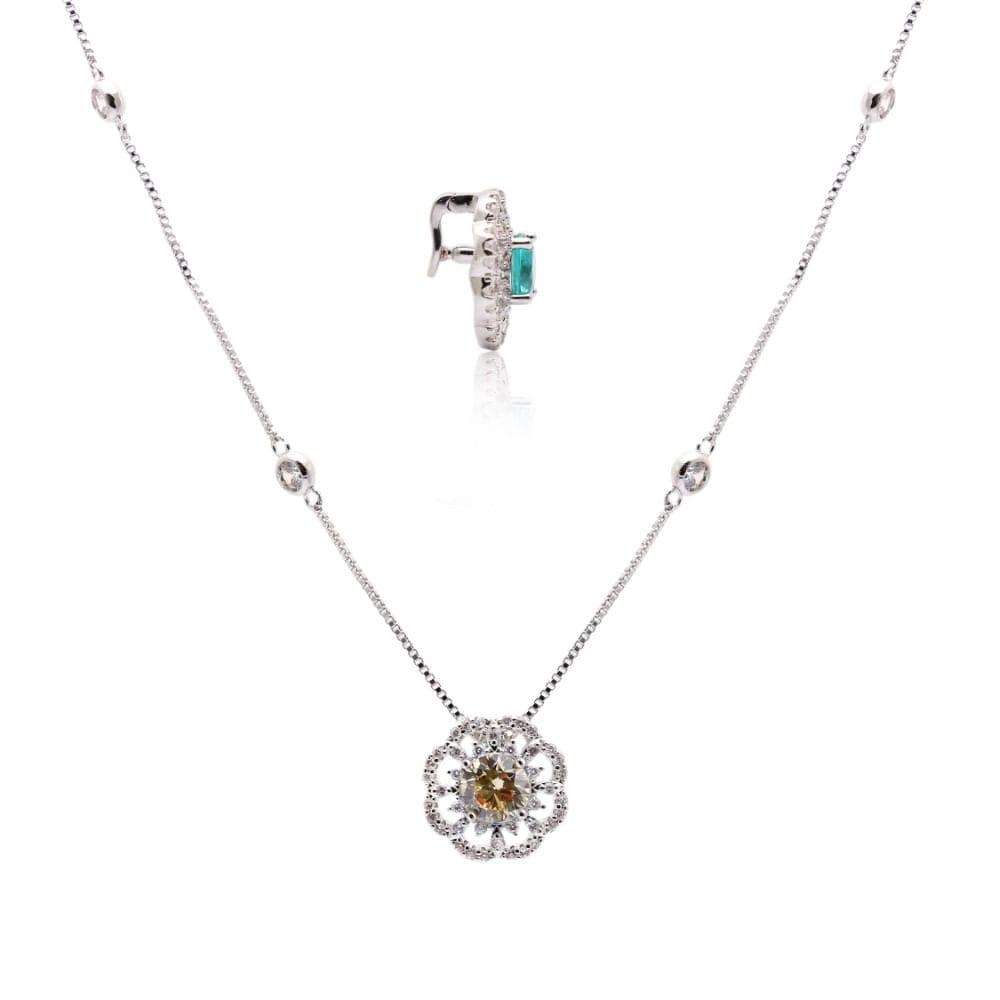 Colar Tiffany Cristal Paraíba Flor Versátil Banho de Ródio Branco - 80 cm
