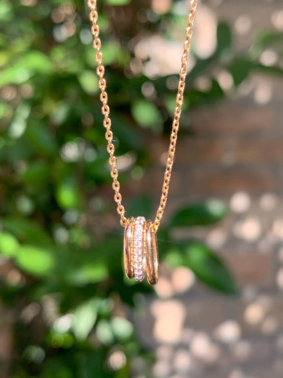 Colar Elos Zircônia Branca Banho de Ouro 18K - 55 cm