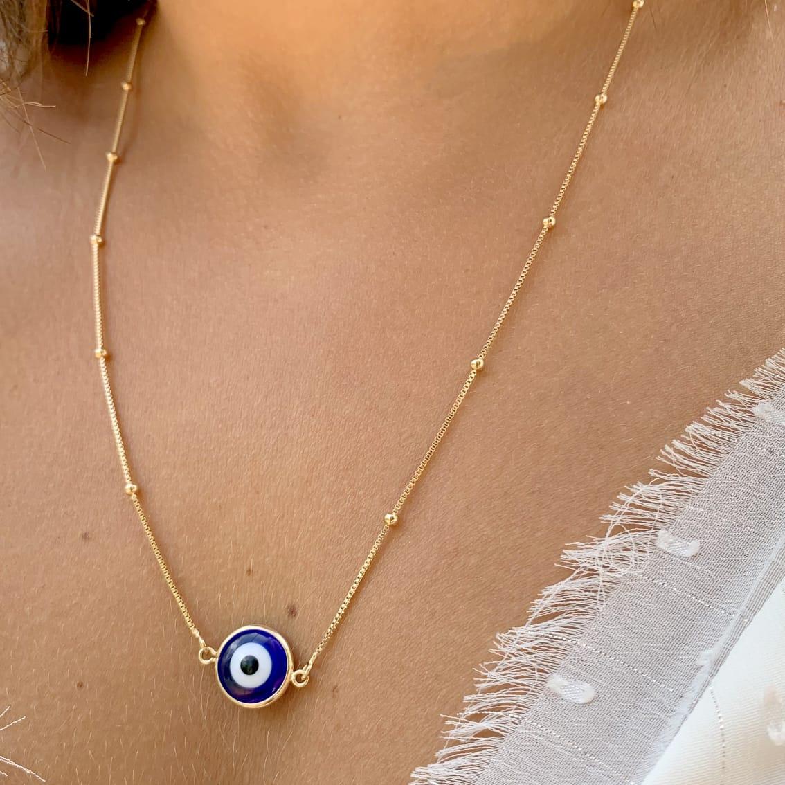Colar Escapulário de Olho Grego - 60 cm