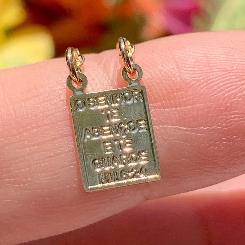 Colar Escapulario Liso Versículo Bíblia Banho de Ouro 18K - 65 cm