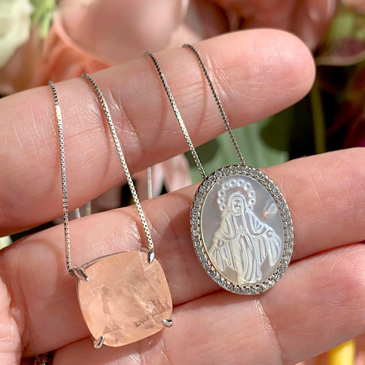Colar Escapulário em prata 925 Nossa Senhora de Fátima em Madrepérola e Fusion Morganita Quadrado - 70 cm
