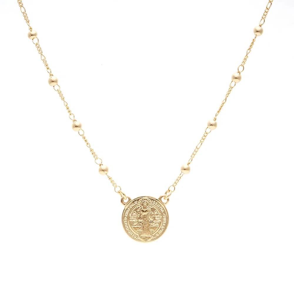 Colar Medalha de São Bento Bolinhas Banho de Ouro 18K - 45 cm